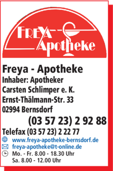 Anzeige Freya-Apotheke