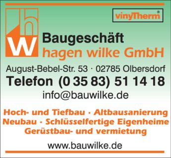 Anzeige Baugeschäft Wilke, Hagen