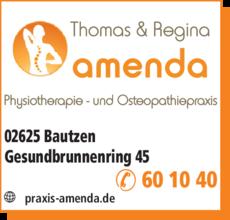 Anzeige Physiotherapie Amenda