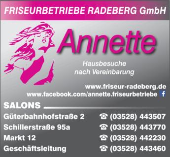 Anzeige Annette Friseurbetriebe, Radeberg GmbH