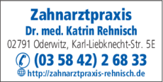 Anzeige Zahnarztpraxis Rehnisch Katrin Dr. med.