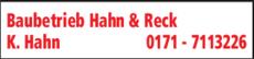 Anzeige Hahn & Reck Baubetrieb