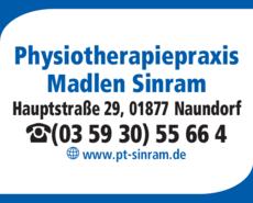 Anzeige Physiotherapiepraxis Madlen Sinram