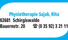 Anzeige Physiotherapie Sajak Rita