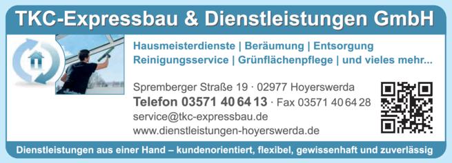 Anzeige Hauswirtschaft TKC Expressbau & Dienstleistungen GmbH