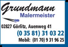 Anzeige Malermeister Grundmann Peter