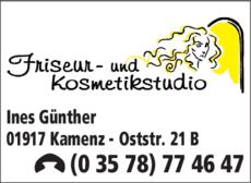 Anzeige Friseur- und Kosmetikstudio Ines Günther