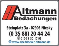 Anzeige Altmann Bedachungen