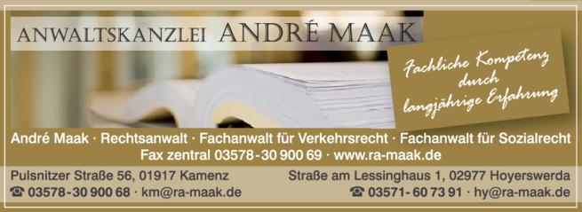 Anzeige Anwaltskanzlei André Maak