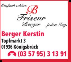 Anzeige Friseursalon Berger Kerstin