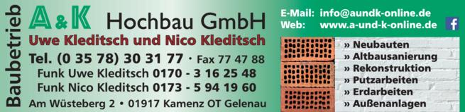 Anzeige A & K Hochbau GmbH