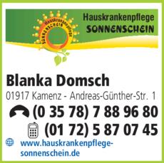 Anzeige Hauskrankenpflege Sonnenschein Blanka Domsch
