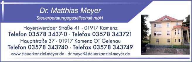 Anzeige Dr. Matthias Meyer Steuerberatungsgesellschaft mbH