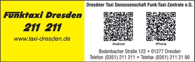 Anzeige Dresdner Taxi-Genossenschaft e.G.