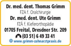 Anzeige Grimm Thomas u. Ute Dres. med. dent.
