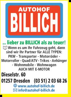 Anzeige Autohof Billich