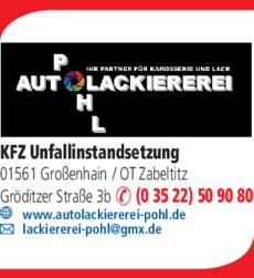 Anzeige Autolackiererei Pohl Großenhain