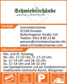 Anzeige Gaststätte & Pension Schmiedeschänke