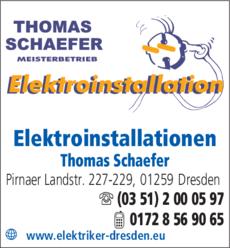 Anzeige Elektroinstallationen Thomas Schaefer