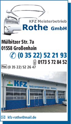 Anzeige KFZ-Meisterbetrieb Rothe GmbH