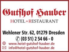 Anzeige Gutshof Hauber, Hotel Dresden
