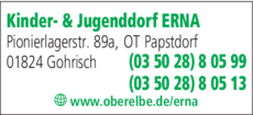 Anzeige Kinder- & Jugenddorf ERNA ERholung & NAtur e.V.