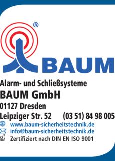 Anzeige Alarm- und Schließsysteme BAUM GmbH