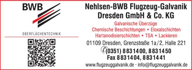 Anzeige Galvanische Überzüge Nehlsen-BWB Flugzeug-Galvanik Dresden GmbH & Co. KG