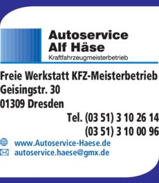 Anzeige Autoservice Alf Häse