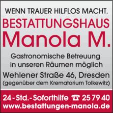 Anzeige Bestattungshaus Manola M.
