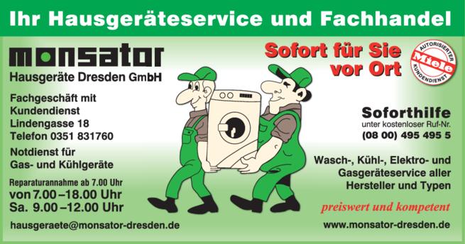 Anzeige monsator Hausgeräte Dresden GmbH