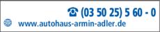 Anzeige Autohaus Armin Adler GmbH & Co. KG