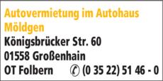 Anzeige Autovermietung im Autohaus Möldgen