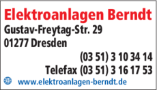 Anzeige Elektroanlagen Berndt