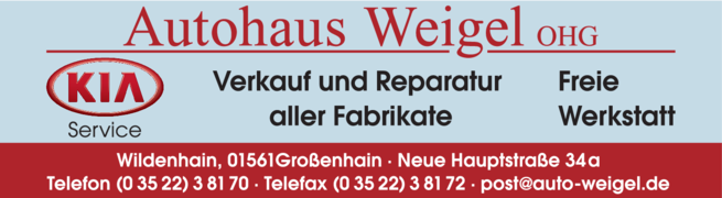 Anzeige Autohaus Weigel OHG