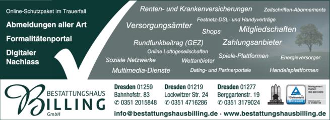 Anzeige Bestattungshaus Werner Billing GmbH