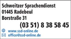 Anzeige Schweitzer Sprachendienst