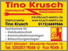 Anzeige Krusch, Tino - Elektrotechnik und Gebäudetechnik
