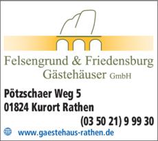 Anzeige Felsengrund & Friedensburg, Gästehäuser GmbH