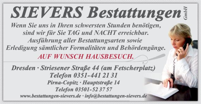 Anzeige SIEVERS Bestattungen GmbH