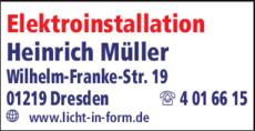 Anzeige Elektroinstallation Heinrich Müller