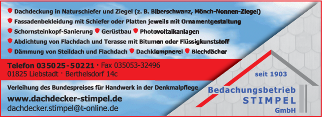 Anzeige Stimpel Bedachungs GmbH