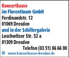 Anzeige Konzertkasse im Florentinum GmbH
