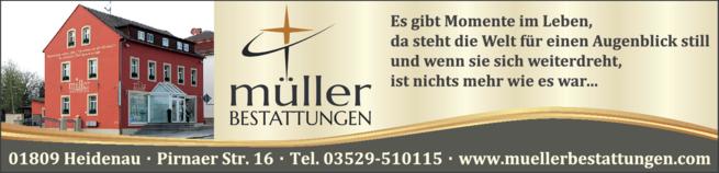 Anzeige Bestattungen Müller