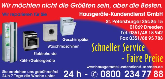 Anzeige Hausgeräte-Kundendienst GmbH