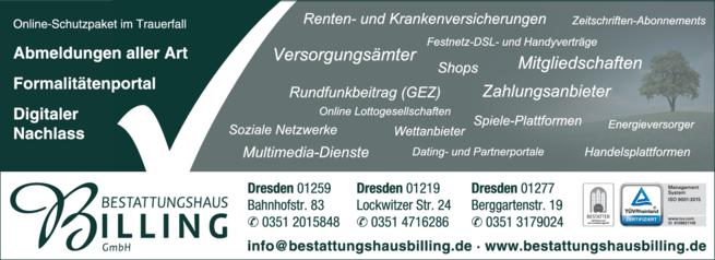 Anzeige Beerdigung Bestattungshaus Werner Billing GmbH