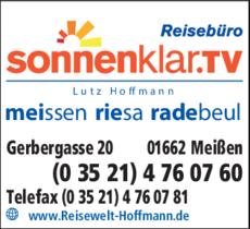 Anzeige Reisebüro Sonnenklar Lutz Hoffmann