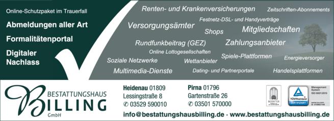 Anzeige Bestatter Bestattungshaus Werner Billing GmbH