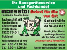 Anzeige Elektrogeräte monsator Hausgeräte Dresden GmbH