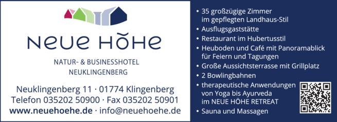 Anzeige Hotel Neue Höhe, Dr. Butze GbR